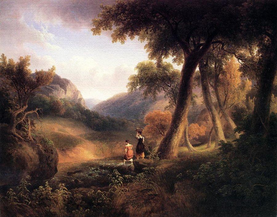 Girls Crossing the Brook