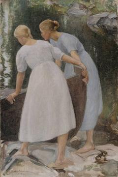 Girls Pushing a Boat