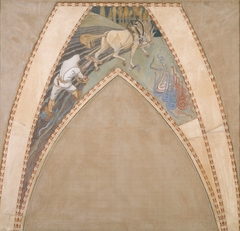 Ilmarinen ploughing the Viper-field, Sketch for the cupola frescos of the Finnish Pavilion in Paris