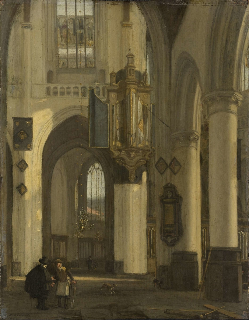 Interior of a Protestant Gothic Church with Motifs from the Oude and Nieuwe Kerk in Amsterdam
