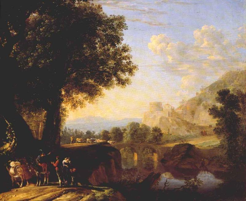 Italian Landscape with Bridge and Castle