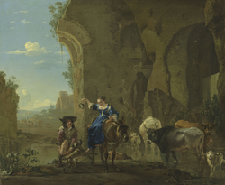 Italianate landscape with travellers by a stream with cattle