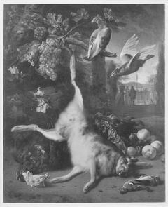 Jagdbeutestillleben mit mit Hasen