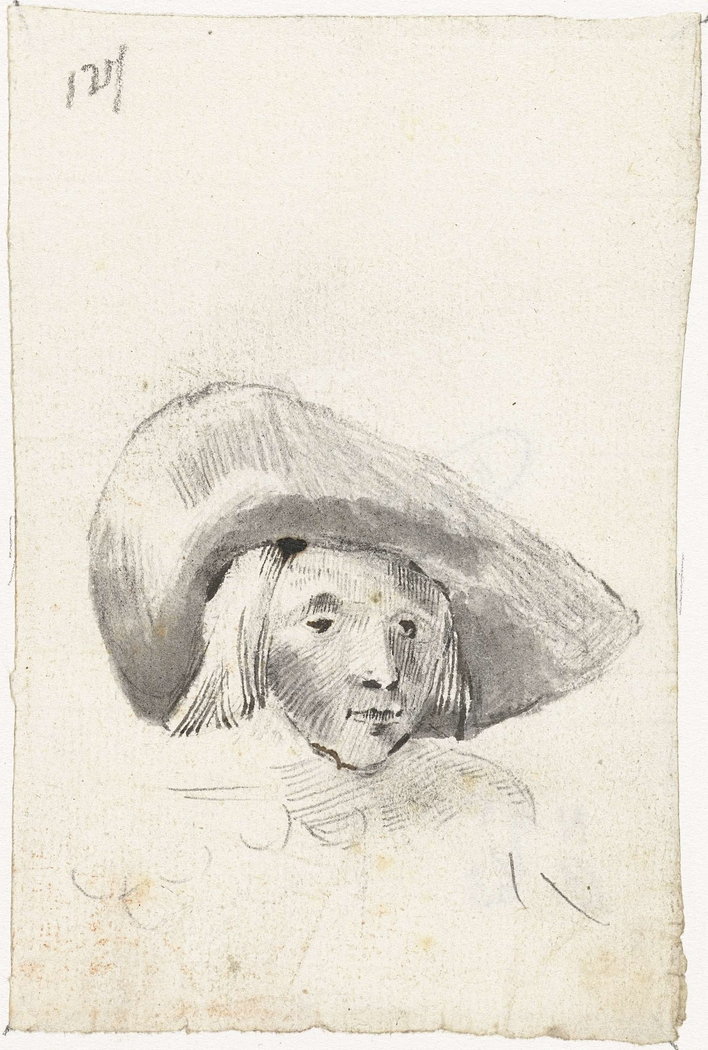 Jongenshoofd met een breedgerande hoed