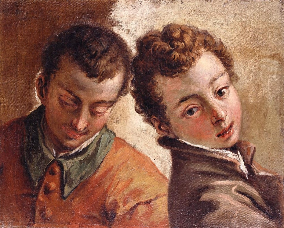 Juxtaposed Heads of a Young Man and a Boy