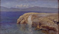 Klippekyst med vandfald på Eubøa