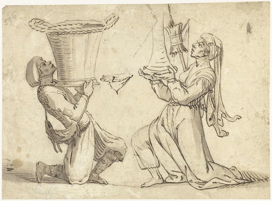 Knielende oosterling tegenover een knielende vrouw