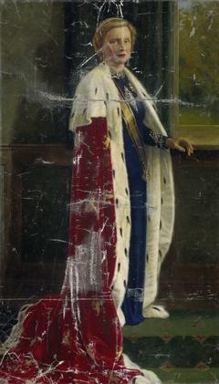 Koningin Juliana der Nederlanden in haar kroningsgewaad