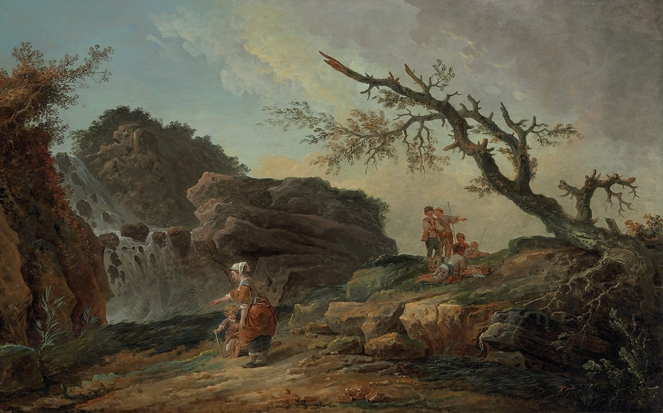 La Cascade : a Rocky Hillside with a Peasant Woman and Child near a Waterfall and Boys Resting by a Blasted Tree