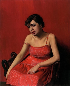 La Roumaine en robe rouge