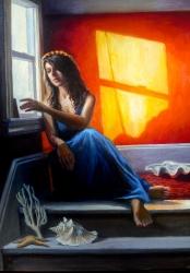 """La Sirena"" by Lydia Martin© oil on Belgian linen (24""x18"") / Lotería series"
