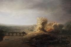 Landscape with a seven arched bridge