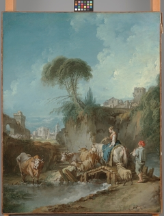 Landscape with Distant Buildings and a Herdswoman