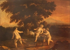 Landscape with Three Naked Boys, one riding a goat