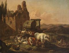 Landschaft mit Tieren an der Tränke