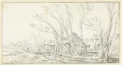 Landschap met kromme kale bomen voor boerderijen