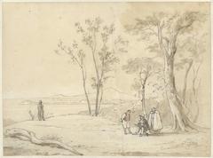 Landschap met tekenaar, geestelijke en andere figuren