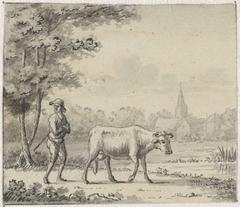 Landschap met twee koeien en een schaap