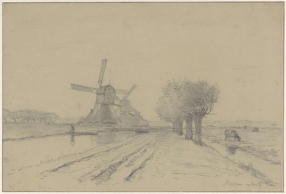 Landschap met twee molens en enkele knotwilligen langs de vliet te Meern