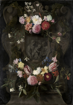 Madonna relief in a flower garland