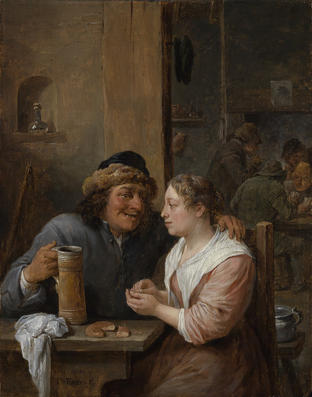 Man with a beer jug and a young woman in a tavern