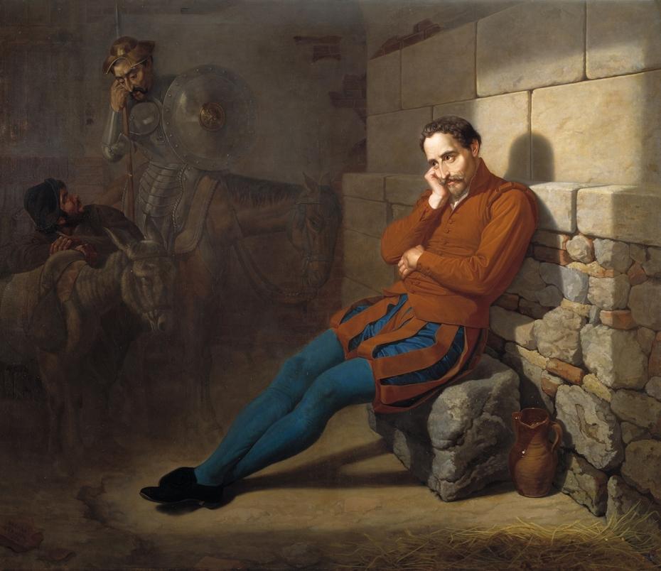Miguel de Cervantes imaginando El Quijote
