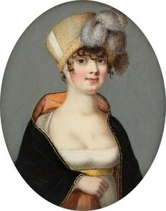 Miniature of a lady in a poke bonnet.