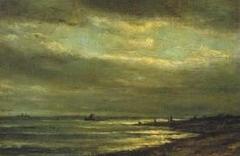 Moonlit View of a Coast