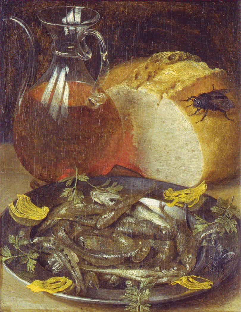 Nature morte au flacon de vin et aux petits poissons