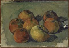 Nature morte aux sept pommes et tube de couleur
