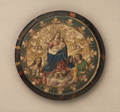 Nun's Shield showing the Virgin and Child with Saints John the Baptist and Catherine of Alexandria
