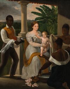 (O filho do artista tomando banho na varanda da residência de seu avô, Grandjean de Montigny)