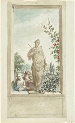 Ontwerp voor een zaalstuk: standbeeld van zintuig Gevoel, daarnaast een liefdespaar