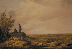 Panoramic Landscape with Shepherds, Sheep and a Town in the Distance (possibly Beverwijk, Holland)