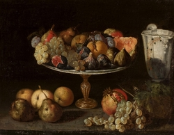 Pedestal plate with southern fruit