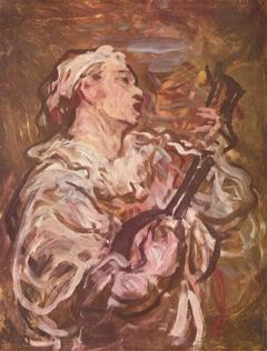 Pierrot joue de la mandoline