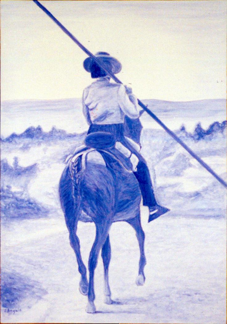 Pole vaulting horseman