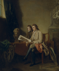 Portrait of a Man and a Boy Looking at Print