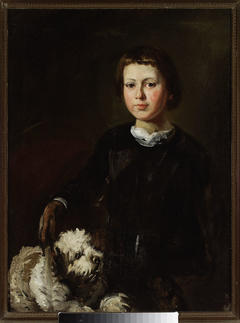 Portrait of artist's won with a dog