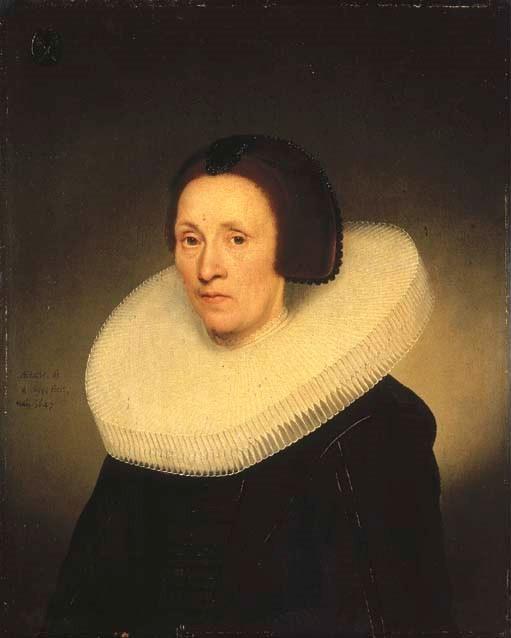 Portrait of Johanna van Diemen, aged 61, half-length, in a cartwheel ruff with a coat of arms