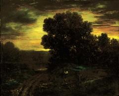 River Landscape at Sunset