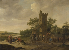 River landscape with figures and a wagon near a tower