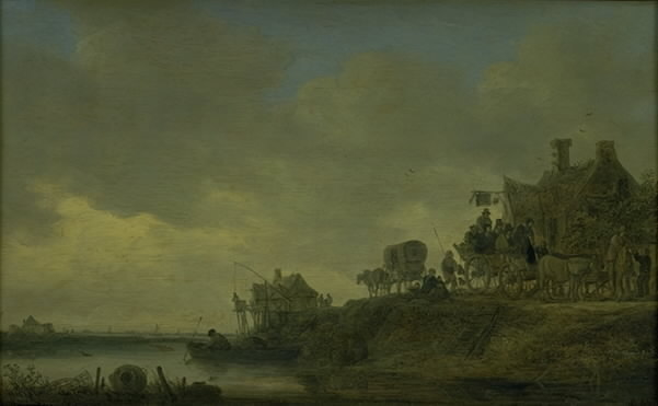 """River Scene with the """"Swan"""" Tavern"""