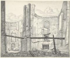 Ruïne van de op 18 september 1822 verbrande Nieuwe Luthersche Kerk te Amsterdam, van binnen naar de Singel