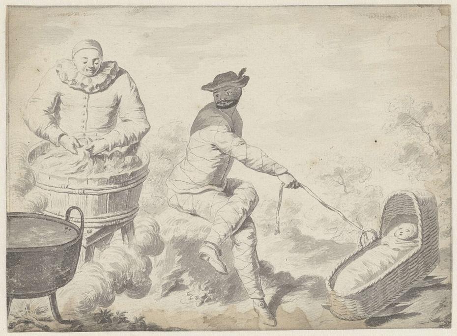 Scène uit de Commedia dell'Arte met Pierrot die de was doet