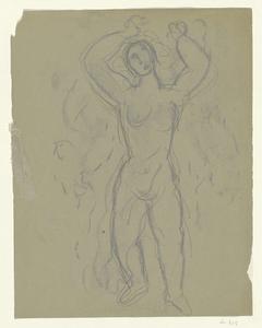 Schetsblad met studie van een naakte vrouw met de handen omhoog geheven