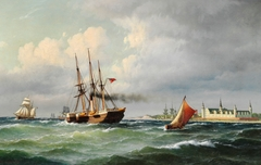 Seascape off Kronborg with numerous ships and a pilot boat