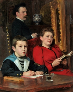 Self-portrait by José Frappa with his wife and his son Jean-José Frappa