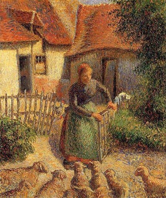 Shepherdess bringing sheep in