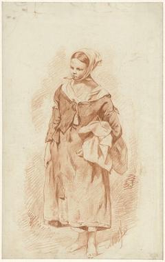 Staande vrouw met hoofddoek